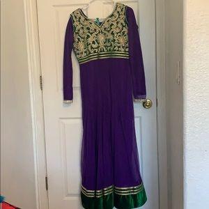 Beautiful purple, green, and gold anarkali dress.